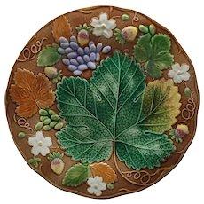 Antique Wedgwood Majolica Strawberry Grape Vine Plate - c. 1879, England