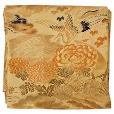 Formal Obi Sash / Belt for Kimono Japanese Flying Cranes Gold, Green, Orange, Beige
