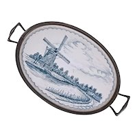 Makkum Dutch Blue White Ceramic Oval Tray Pewter Mount Handled - Netherlands