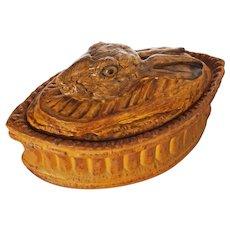 French Pillivuyt Rabbit Hare Game Terrine / Tureen Glass Eyes Glazed Porcelain - France