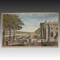 BILNITZ  PALACE King of Poland 18th Century Perspective Engraving / Optical Print Overton Sayer - circa 1752, London