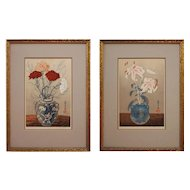 Yoshijiro Urushibara Woodcut Prints Signed Numbered Carnations Lilies Pots