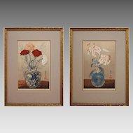 Yoshijiro Urushibara Woodcut Prints Signed Numbered Carnations Lilies Pots