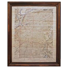 Americana Kansas City Geological Survey Map Colored Engraving Framed Hugues Killian - circa 1940, USA