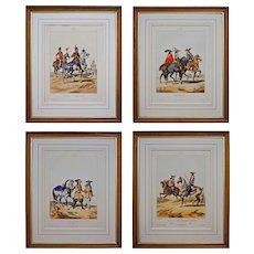 Set 4 French Military Lithographs David d'apres Dunoyer de Noirmont Framed Hand Colored - 19th Century, France