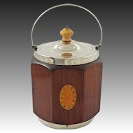 Antique English Mahogany  Ice Bucket / Biscuit Barrel Wood Fan Inlay Silver Plate Fittings Porcelain Liner - c. 1900's, England