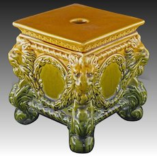 Wardle England Majolica Square Lion Low Stand / Planter Base / Pedestal Antique Olive Ochre
