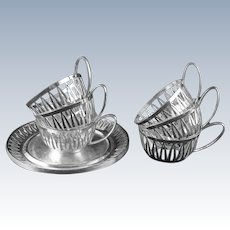 Set 6 Art Deco WMF Pierced Cup Holders Saucers Silverplate - circa 1930's, Germany