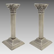 Pair English Corinthian Column Classic Candlesticks Silverplate Candle Holders