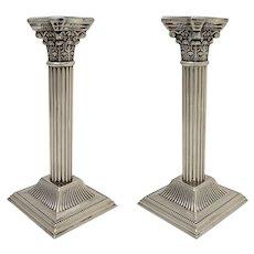 Pair English Corinthian Column Classic Candlesticks Silverplate Candle Holders