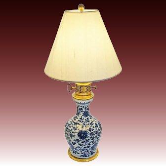 Gagneau Paris Chinoiserie Faience Ormolu Mount Table Lamp Blue White - late 19th Century, France