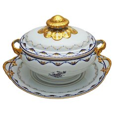 Vista Alegre Fontainebleau Soup Tureen and Underplate Porcelain Large - 20th Century, Portugal