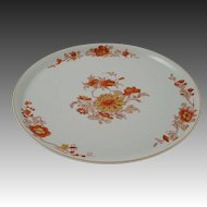 Vista Alegre Large Platter / Charger / Tray / Chop Plate Gold Trim Orange Floral on Celadon Circular