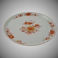 Vista Alegre Large Platter / Charger / Tray / Chop Plate Gold Trim Orange Floral on Celadon Circular