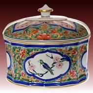 Vista Alegre Oval Lidded Box Birds Blue Red Green Imari Asian Style Porcelain Large - 20th Century, Portugal