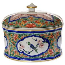 Vista Alegre Oval Lidded Box Birds Blue Red Green Imari Asian Style Porcelain Large - 20th Century, Portugal