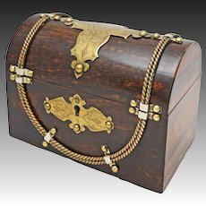 Gentleman's Stationery Box Chest Casket Calamander Wood Brass Banding with Key - c. 1890, England