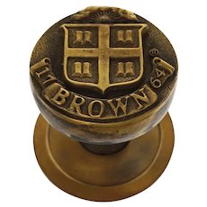 Brown University Bronze Door Knob Coat of Arms 1764