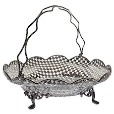 Antique William Gough English Silverplate Pierced Basket - circa 1850, Birmingham, England