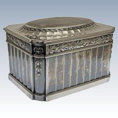 Christofle Gallia Orfevrerie Large Casket Hinged Lid Dresser Box Silver Plate Empire Style - 1900-1937 mark, France