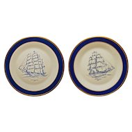 Pair Graham Holmes Signed Sailboat Clipper Ship Plates Cobalt Blue Lenox Special - 20th Century, USA