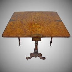 Burl Walnut Top Gateleg Drop Leaf Table Wheels Casters Antique - c. late 19th Century, England