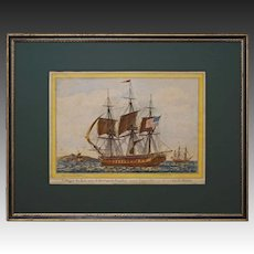 USS President Frigate Americana Nautical Maritime Baugean Engraving - 19th Century, France