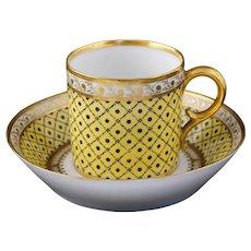 18th C. Duc d'Angouleme Paris Yellow Porcelain Cabinet Cup & Saucer Gilt - circa 1790, France