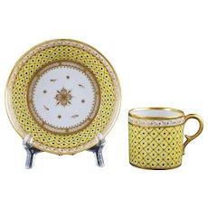 Circa 1790 Duc d'Angouleme Paris Yellow Porcelain Cabinet Cup & Saucer Gilt - circa 1790, France