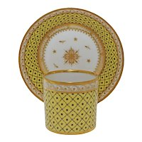 Paris Duc d'Angouleme Porcelain Cup and Saucer Yellow Gilded - circa 18th C., France