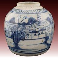Chinese Porcelain Stoneware Blue and White Ginger Jar