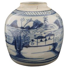 "7"" dia. Chinese Export Canton Ginger Jar Blue White Pottery Stoneware Heavy"