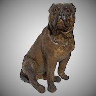 """14"""" Bulldog Large Figure Glass Eyes Chalkware Dog"""