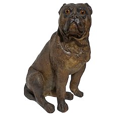 "14"" Bulldog Large Figure Glass Eyes Chalkware Dog"
