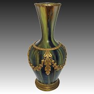 French Glazed Faience Bronze Mount Art Pottery Vase / Lamp Green Swags Empire Style - circa 1890's, France