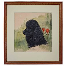 Dog Portrait Painting Poodle Signed Gordon MCM Framed - 1962, USA