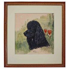 Dog Portrait Painting Poodle Signed Gordon MCM Framed - 1962, USA