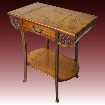Ecole de Nancy Art Nouveau Signed Camille Gauthier Table - c. 1900's, France