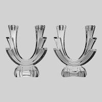 Pair Sevres Double Light Candlesticks Art Deco Style Large Crystal - 20th Century, France