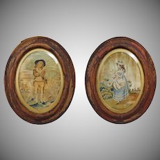 Pair of Antique Silkwork Pictures Young Couple Lady Gentleman Summer Allegory - c. 1790