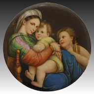 Porcelain Plaque Madonna of the Chair / della Seggiola or Sedia - 19th Century, Germany