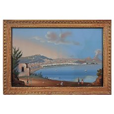 Large Gouache Painting Bay of Naples Vesuvius Volcano from Posilipo Italy Framed