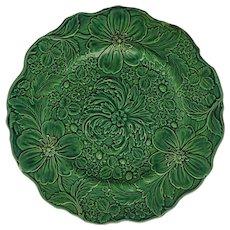 Arts & Crafts Strawberry Flower Green Glaze Majolica Scalloped Plate  - 19th Century, England