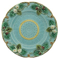 Antique Sarreguemines French Majolica Strawberry Plate Turquoise - 1835-1900, France