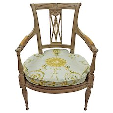 Pair Swedish Gustavian Painted Arm Chairs Curved Backs
