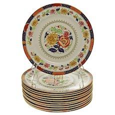 Set 12 Antique Cauldon Brown Westhead Moore Luncheon Porcelain Plates Gilt-Rimmed - 1862-1905 mark, England