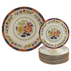 Set 12 English BW & M Cauldon Dessert Plates + Cake Platter - 1862-1905 mark, England