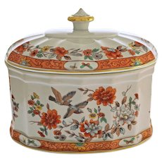 Vista Alegre Oval Box with Lid Birds Orange Blue Yellow Gold Asian Style Porcelain - 20th Century, Portugal