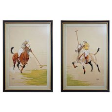 Polo Players Pair French Color Lithographs Signed Le Rallic Framed MCM- circa 1945, France