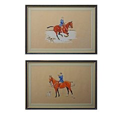 Lady Equestrian Pair French Color Lithographs Signed Le Rallic Framed MCM- circa 1945, France